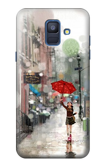 Printed Girl in The Rain Samsung Galaxy A6 (2018) Case