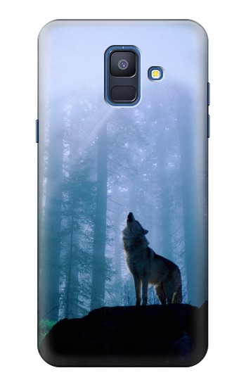 Printed Wolf Howling in Forest Samsung Galaxy A6 (2018) Case