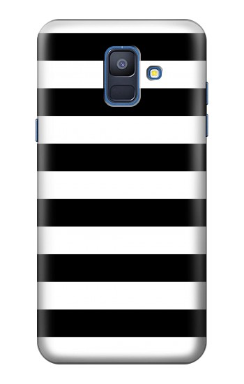 Printed Black and White Striped Samsung Galaxy A6 (2018) Case