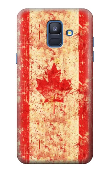 Printed Canada Flag Old Vintage Samsung Galaxy A6 (2018) Case