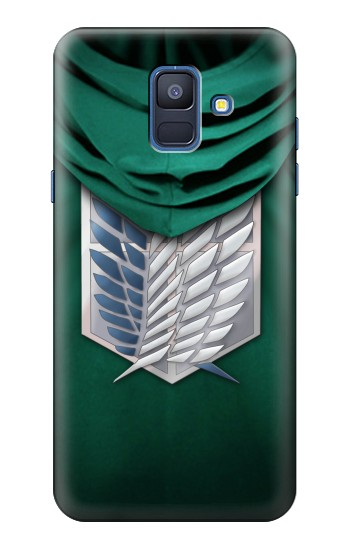 Printed Attack on Titan Scouting Legion Rivaille Green Cloak Samsung Galaxy A6 (2018) Case