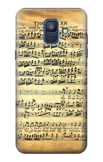 Printed The Fowler Mozart Music Sheet Samsung Galaxy A6 (2018) Case