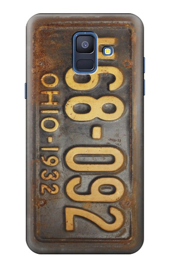 Printed Vintage Car License Plate Samsung Galaxy A6 (2018) Case