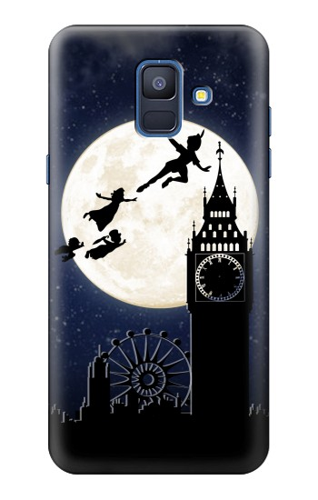 Printed Peter Pan Fly Fullmoon Night Samsung Galaxy A6 (2018) Case