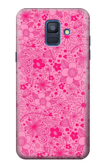 Printed Pink Flower Pattern Samsung Galaxy A6 (2018) Case
