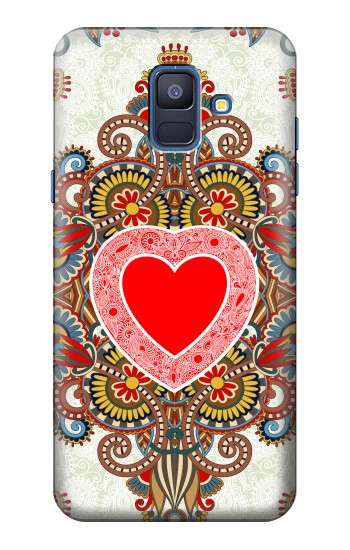 Printed Heart Pattern Line Art Samsung Galaxy A6 (2018) Case