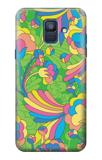 Printed Flower Line Art Pattern Samsung Galaxy A6 (2018) Case