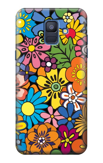 Printed Colorful Flowers Pattern Samsung Galaxy A6 (2018) Case