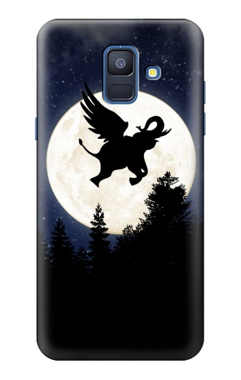Printed Flying Elephant Full Moon Night Samsung Galaxy A6 (2018) Case
