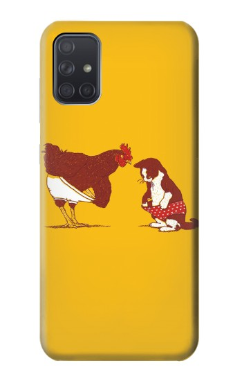 Printed Rooster and Cat Joke Samsung Galaxy A71 Case