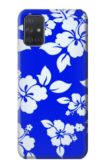 Printed Hawaiian Hibiscus Blue Pattern Samsung Galaxy A71 Case