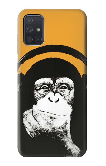 Printed Funny Monkey with Headphone Pop Music Samsung Galaxy A71 Case