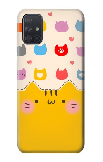 Printed Cute Cat Pattern Samsung Galaxy A71 Case