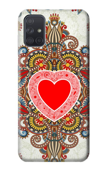 Printed Heart Pattern Line Art Samsung Galaxy A71 Case