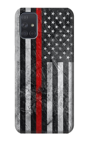Printed Firefighter Thin Red Line American Flag Samsung Galaxy A71 Case