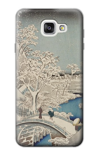 Printed Utagawa Hiroshige The Drum Bridge at Yuhi Hill in Meguro Samsung Galaxy A7 (2016) Case