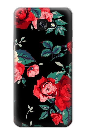 Printed Rose Floral Pattern Black Samsung Galaxy A7 (2017) Case