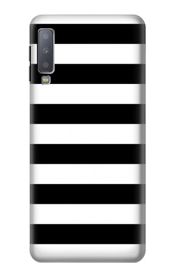 Printed Black and White Striped Samsung Galaxy A7 (2018) Case