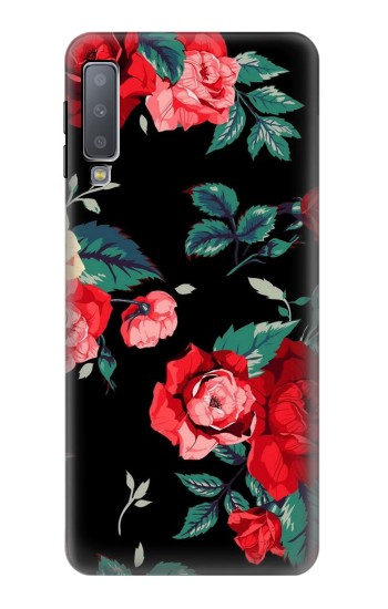 Printed Rose Floral Pattern Black Samsung Galaxy A7 (2018) Case