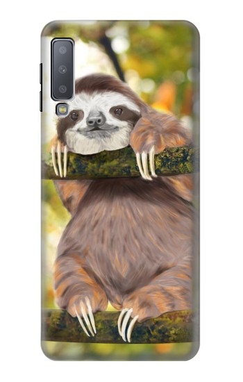 Printed Cute Baby Sloth Paint Samsung Galaxy A7 (2018) Case