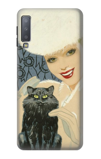 Printed Beautiful Lady With Black Cat Samsung Galaxy A7 (2018) Case