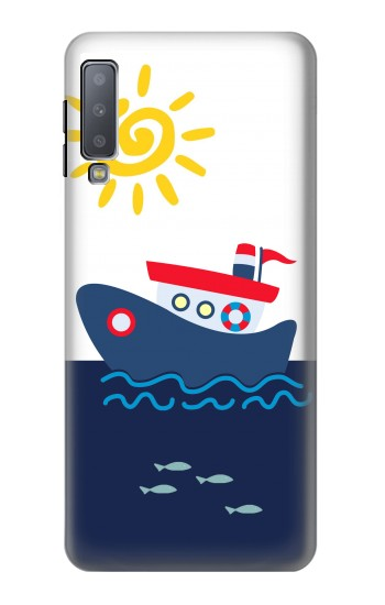 Printed Cartoon Fishing Boat Samsung Galaxy A7 (2018) Case