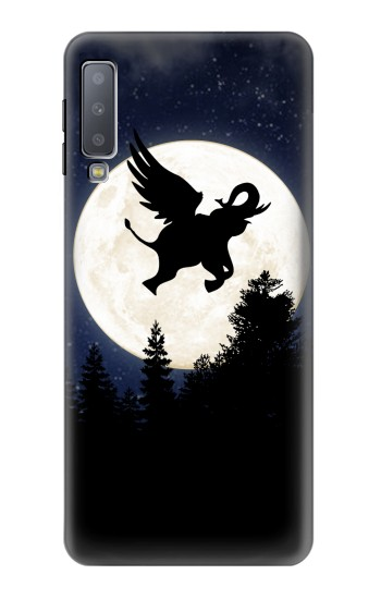 Printed Flying Elephant Full Moon Night Samsung Galaxy A7 (2018) Case