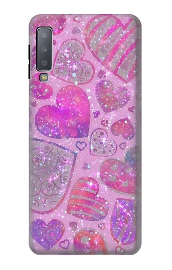Printed Pink Love Heart Samsung Galaxy A7 (2018) Case