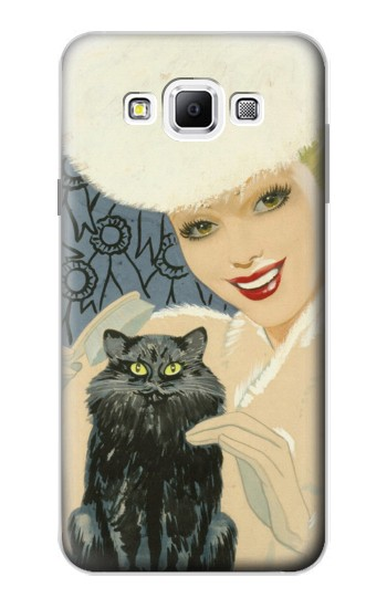 Printed Beautiful Lady With Black Cat Samsung Galaxy A7, A7 Duos Case