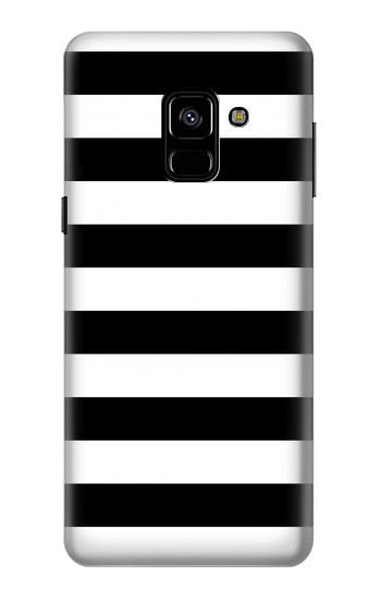Printed Black and White Striped Samsung Galaxy A8 (2018) Case