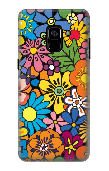 Printed Colorful Flowers Pattern Samsung Galaxy A8 Plus (2018) Case