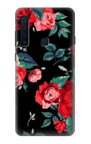 Printed Rose Floral Pattern Black Samsung Galaxy A9 (2018) Case