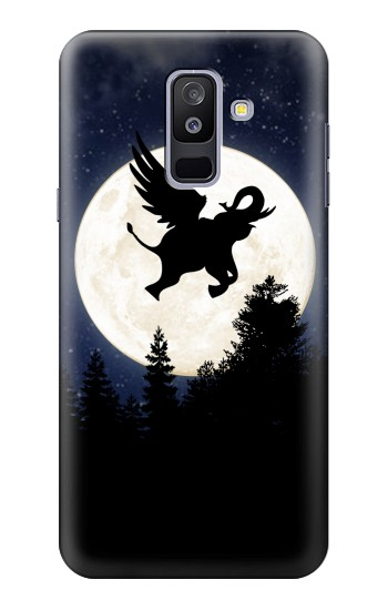 Printed Flying Elephant Full Moon Night Samsung Galaxy A6+ (2018) Case
