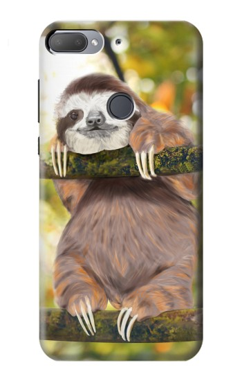 Printed Cute Baby Sloth Paint HTC Desire 12+ Case