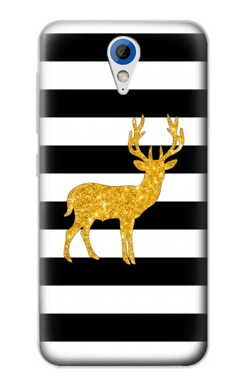 Printed Black and White Striped Deer Gold Sparkles HTC Desire 620 Case
