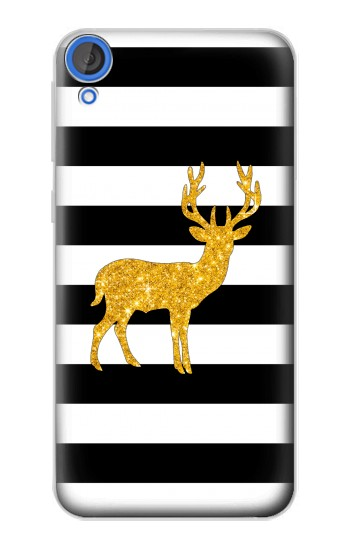 Printed Black and White Striped Deer Gold Sparkles HTC Desire 820 Case