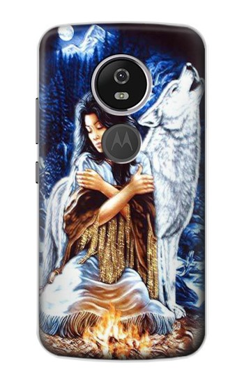 Printed Grim Wolf Indian Girl Motorola Moto E5 Plus Case