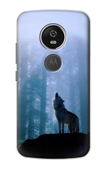Printed Wolf Howling in Forest Motorola Moto E5 Plus Case