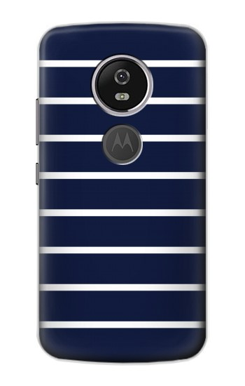 Printed Navy White Striped Motorola Moto E5 Plus Case