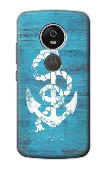 Printed Marine Anchor Blue Wooden Motorola Moto E5 Plus Case