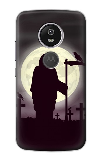Printed Night Moon Cemetery Motorola Moto E5 Plus Case