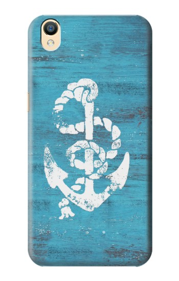 Printed Marine Anchor Blue Wooden OnePlus One Case