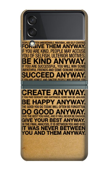 Printed Mother Teresa Anyway Quotes Samsung Galaxy Z Flip3 5G Case