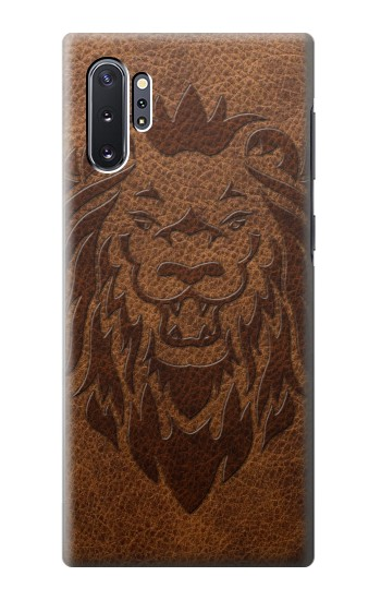 Printed Leo Tattoo Brown Leather Samsung Galaxy Note 10 Plus Case