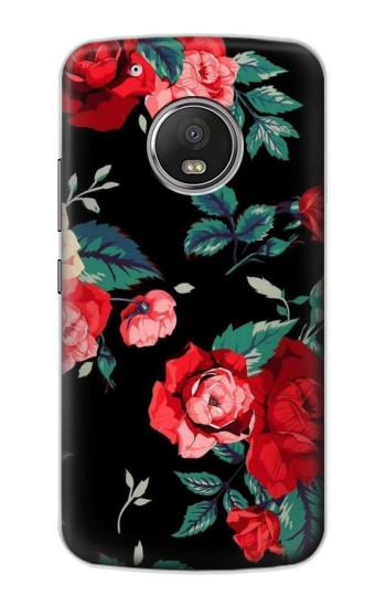 Printed Rose Floral Pattern Black Apple iPod Touch 5G Case