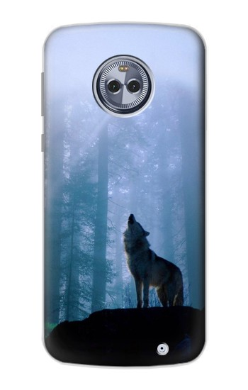 Printed Wolf Howling in Forest Motorola Moto G6 Plus Case