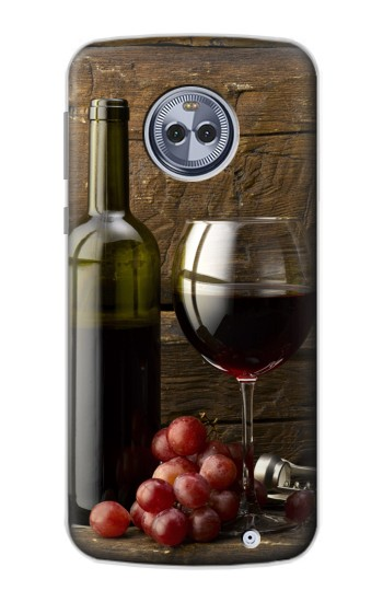 Printed Grapes Bottle and Glass of Red Wine Motorola Moto G6 Plus Case