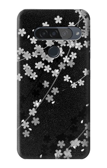 Printed Japanese Style Black Flower Pattern LG G8S ThinQ Case