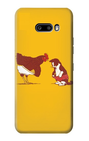 Printed Rooster and Cat Joke LG G8X ThinQ Case