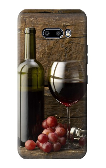 Printed Grapes Bottle and Glass of Red Wine LG G8X ThinQ Case